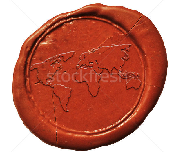 Mapa del mundo signo cera sello mapa mundo Foto stock © inxti