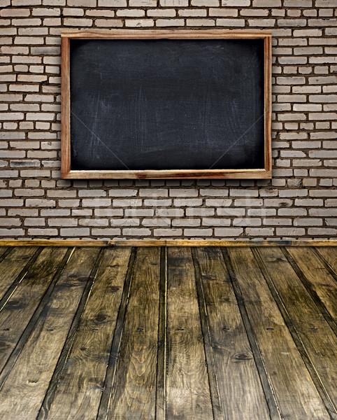 Blank chalkboard menu hang on brick wall in room style Stock photo © inxti