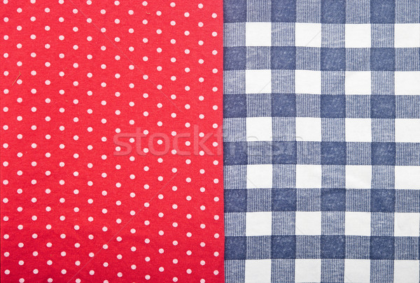 blue checked fabric on red polka dot fabric Stock photo © inxti