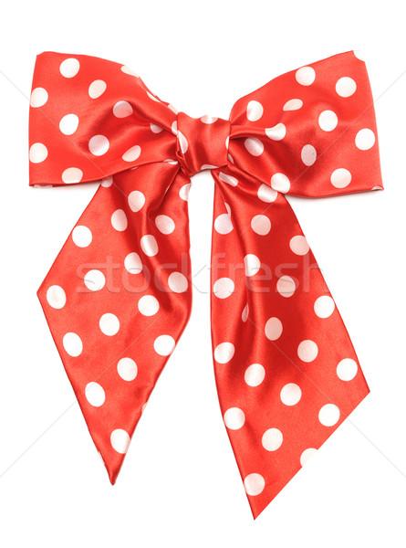 Pontozott piros szatén ajándék íj izolált Stock fotó © inxti