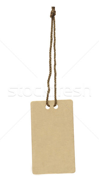 Blank tag tied with string on white background Stock photo © inxti