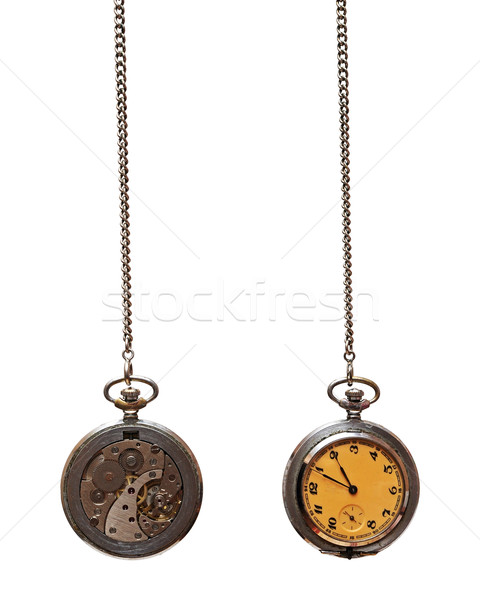 Stock photo: Closeup of old pocket watch isolated on white background
