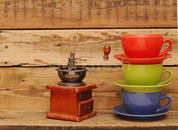 カラフル コーヒー ミル グランジ 木製 戻る ストックフォト © inxti