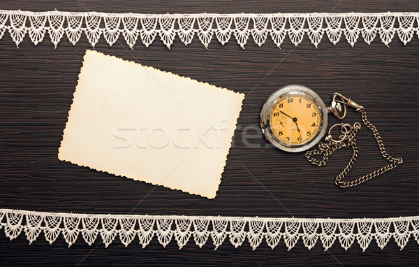 pocket clock with chain with blank old photo Stock photo © inxti