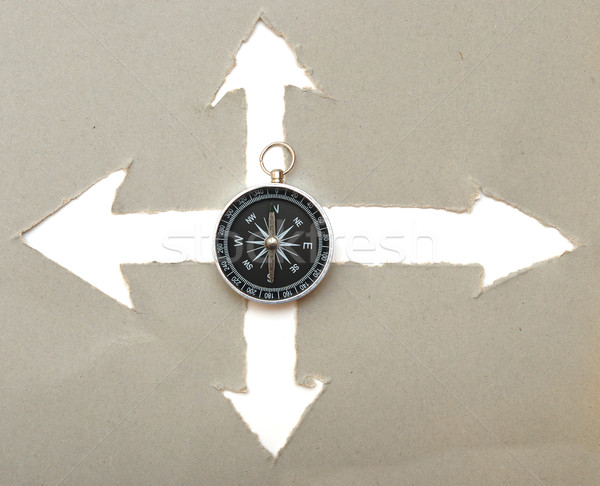 compass and cardboard navigation arrows Stock photo © inxti