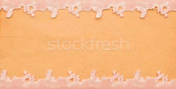 Stock fotó: Baba · közlemény · kártya · babakocsi · papír · lány