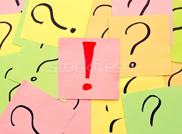 Wykrzyknik znaki zapytania papieru streszczenie podpisania pomoc Zdjęcia stock © inxti