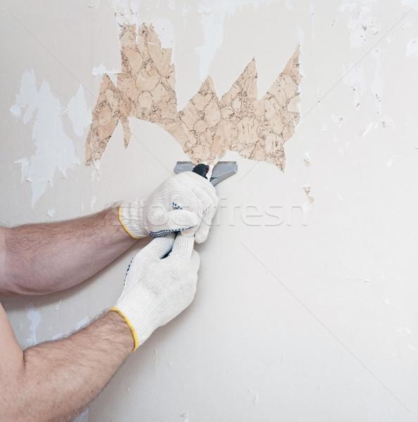 Kéz tapéta fal papír belső kés Stock fotó © inxti