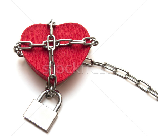 red heart locked with chain on white Stock photo © inxti