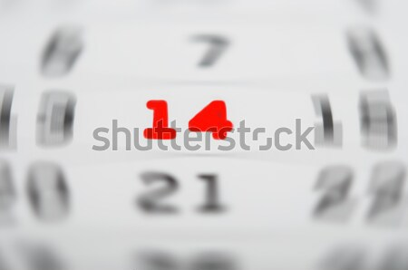 calendar with red fourteen number  Stock photo © inxti