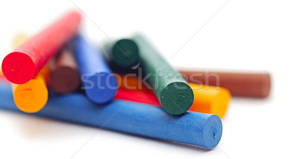 chalks in a variety of colors arranged on a white background  Stock photo © inxti