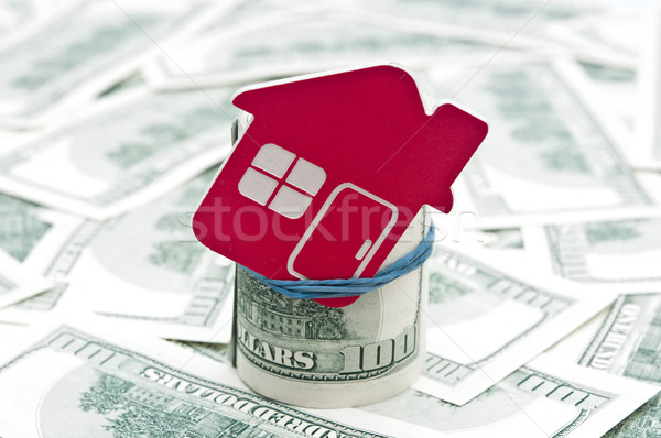 Rood home teken honderd onroerend Stockfoto © inxti