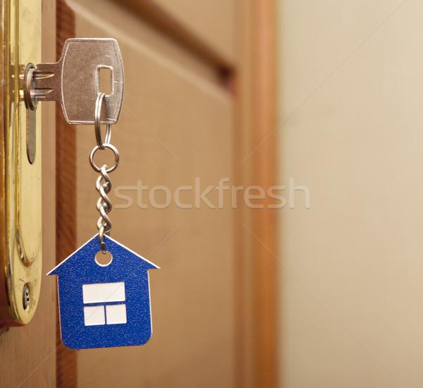 Foto stock: Símbolo · casa · palo · clave · ojo · de · la · cerradura · madera