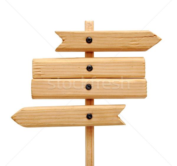 Placa sinalizadora isolado branco madeira Foto stock © inxti