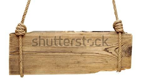 metal plate on wood signboard Stock photo © inxti