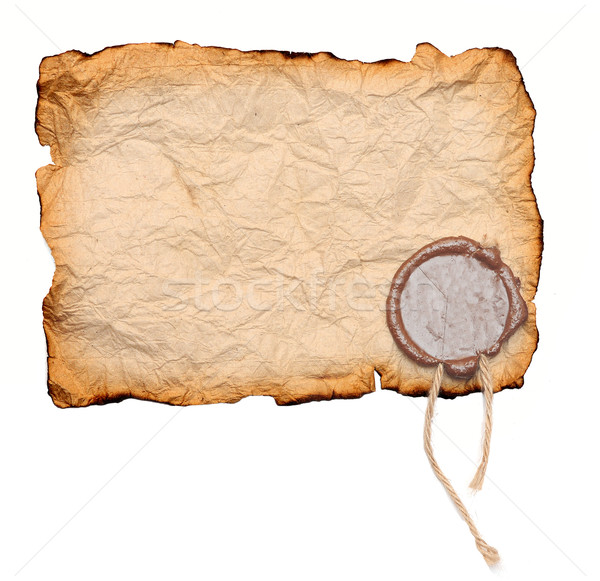 Grunge torn paper with wax seal isolated on white  Stock photo © inxti
