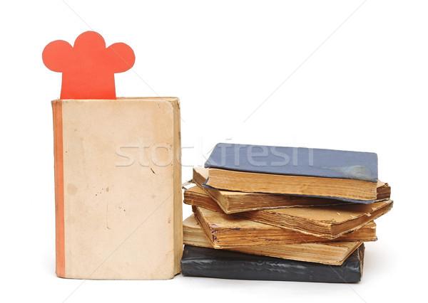 Papír forma szakács sapka boglya könyvek receptek Stock fotó © inxti