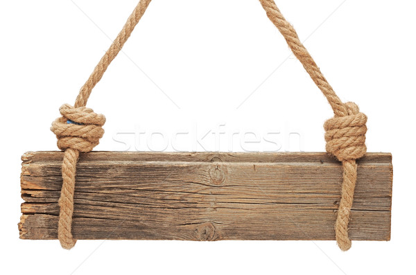 Stock photo: wooden sign isolated on a white background