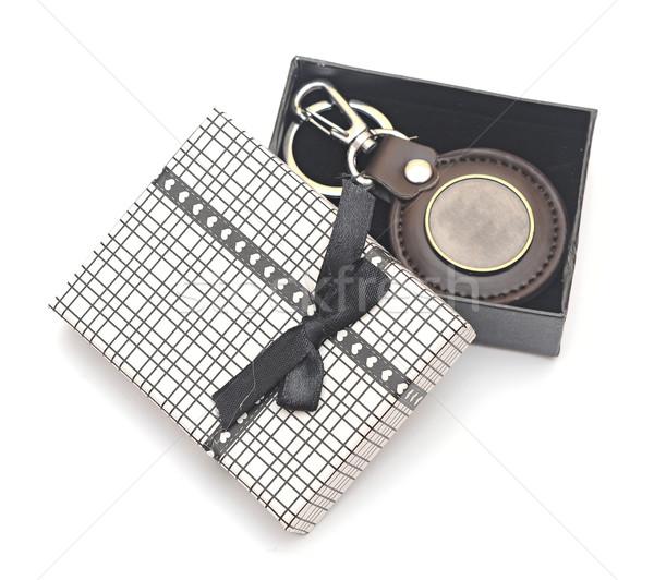 keychain with blank metal platein gift box Stock photo © inxti