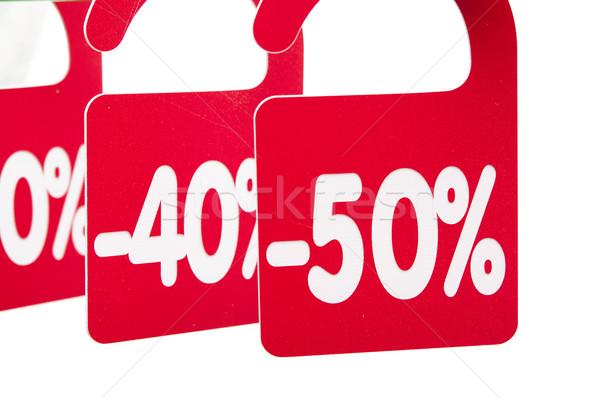 Kleerhanger korting tag ontwerp teken winkel Stockfoto © inxti