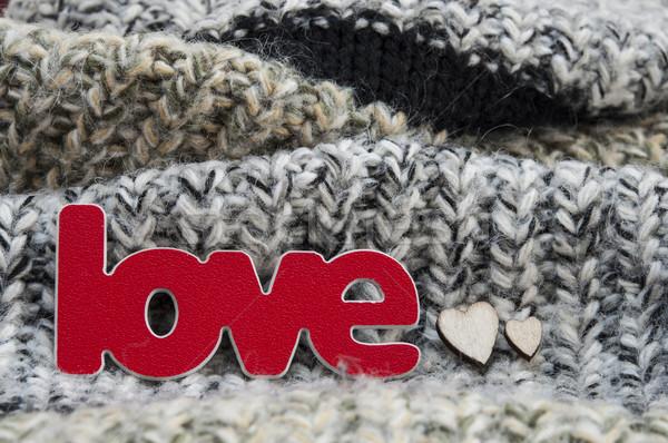 Valentijnsdag kaarten liefde symbool gebreid wollen Stockfoto © inxti