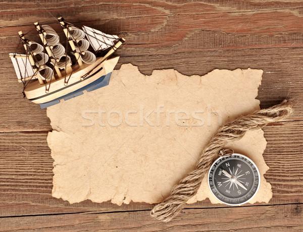 Vieux papier boussole corde modèle classique bateau Photo stock © inxti