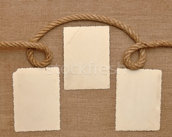 Old vintage photo on brown canvas background Stock photo © inxti