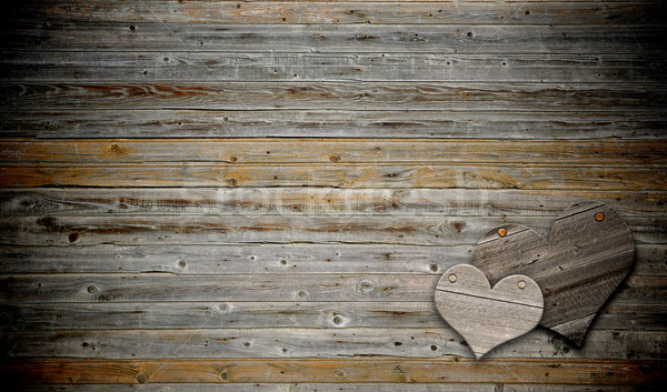 two heart on wood background with copy space  Stock photo © inxti