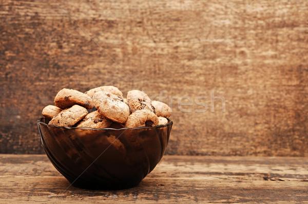 Stock fotó: Csokoládé · chip · sütik · csésze · fa · asztal · étel