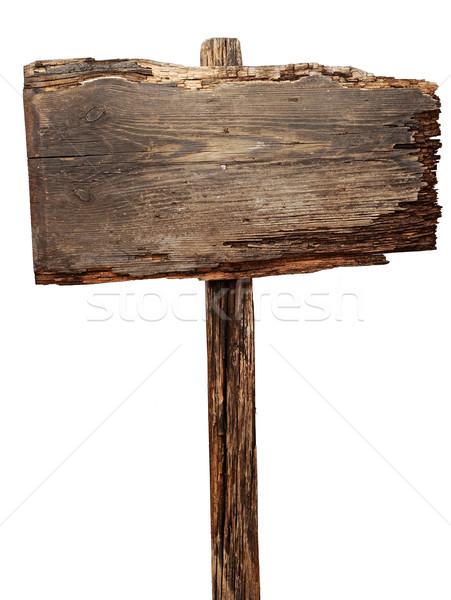 Stockfoto: Oude · verweerde · hout · teken · geïsoleerd · billboard
