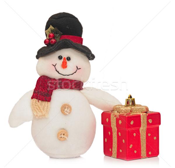 Pupazzo di neve capodanno anno scatola regalo ghiaccio rosso Foto d'archivio © inxti
