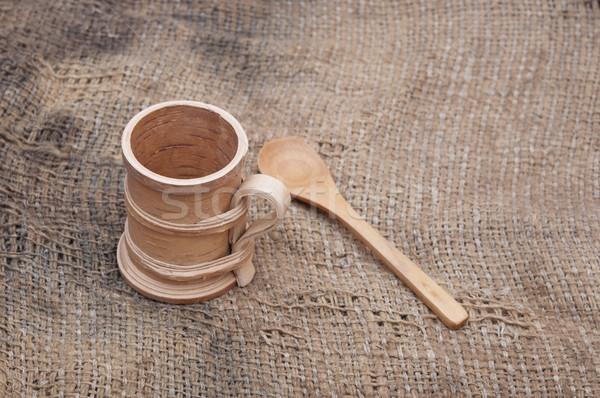 Holz Besteck alten getragen Sackleinen Papier Stock foto © inxti