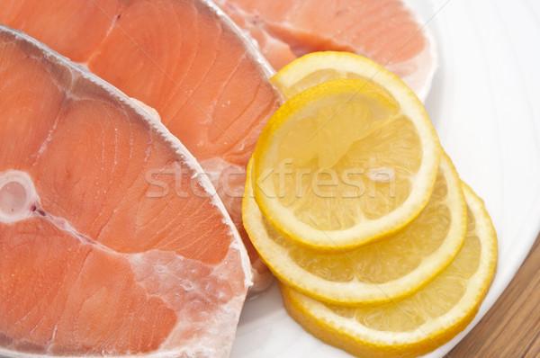 блюдо Ломтики лосося деревянный стол продовольствие Сток-фото © inxti