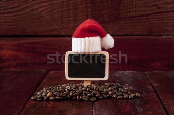 Stock fotó: Karácsony · kávé · kávé · üres · tábla · fa · asztal · fa