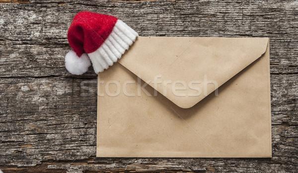 Gelukkig nieuwjaar hout papier envelop houten tafel gelukkig Stockfoto © inxti