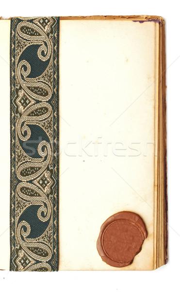 пустая страница открытой книгой печать воск антикварная лента Сток-фото © inxti