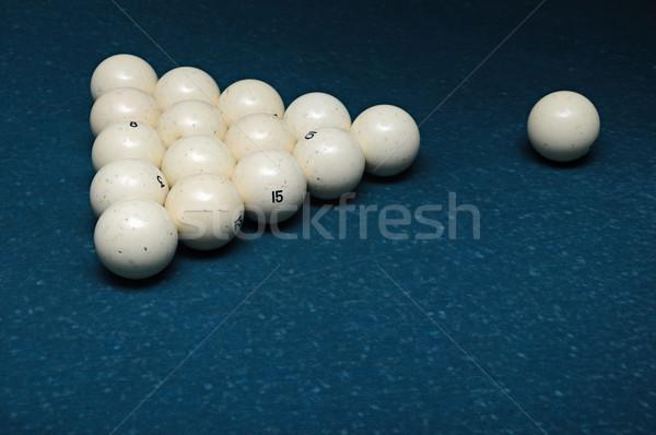 Vijftien witte biljart bollen groene tabel Stockfoto © inxti