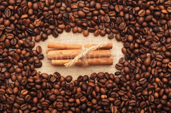 Stock fotó: Kávé · fahéj · kávézó · fekete · csésze · kötél
