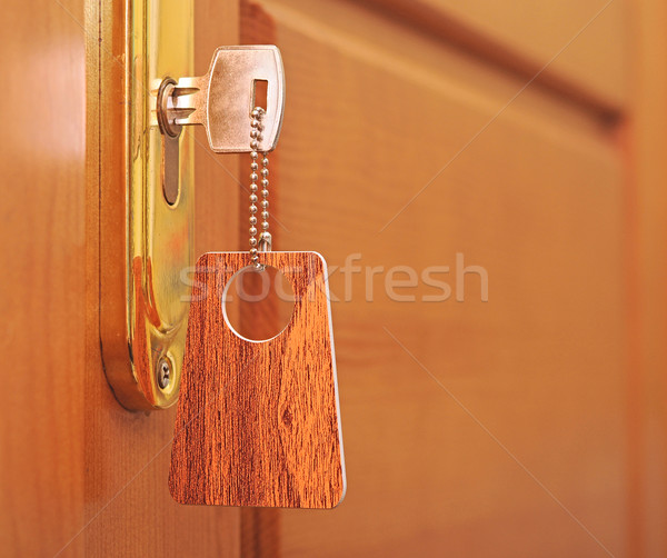 Clave ojo de la cerradura etiqueta oficina diseno casa Foto stock © inxti