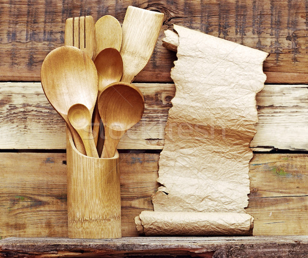 Kitchen wooden utensils in retro bucket with blank paper scroll  Stock photo © inxti