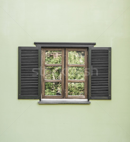 окна открытых жалюзи здании стены Сток-фото © inxti