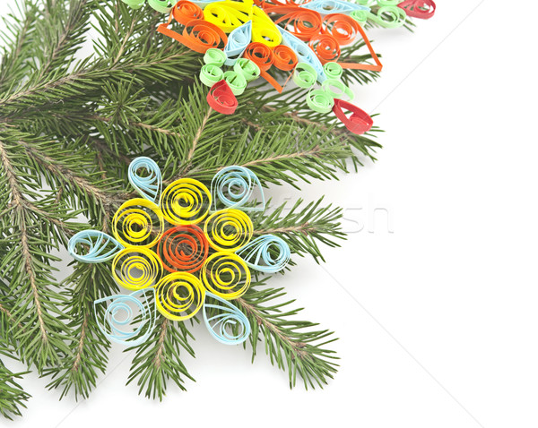 fir-tree with paper snowflake isolated on white Stock photo © inxti