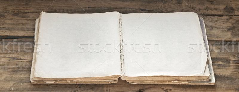 Nyitott könyv régi fa textúra könyv háttér keret Stock fotó © inxti