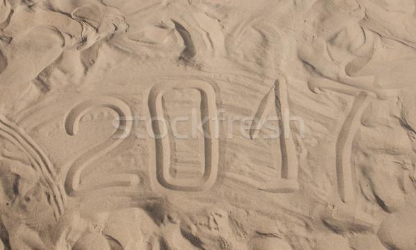 песчаный пляж Новый год Сток-фото © inxti