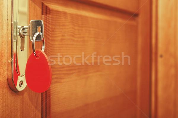 Deur behandelen sleutel sleutelgat hout home Stockfoto © inxti