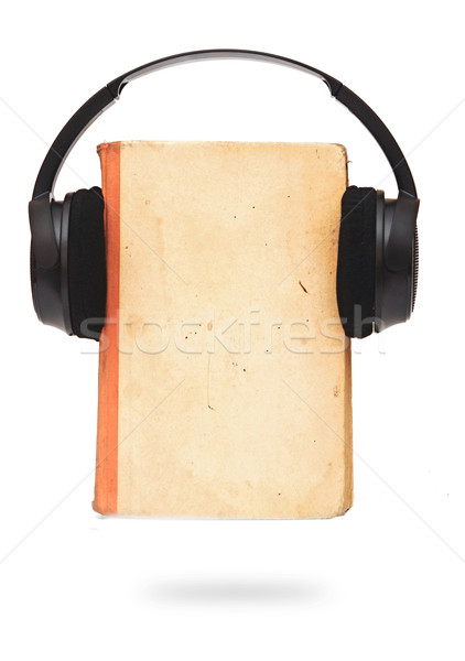 black headphones and book on a white background  Stock photo © inxti
