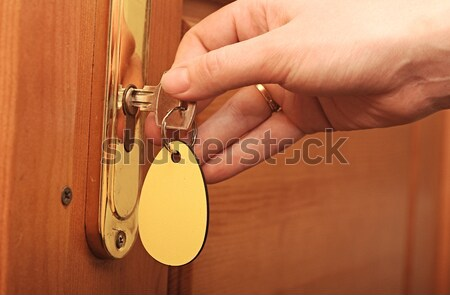 Hand with keys unlocking the front door Stock photo © inxti