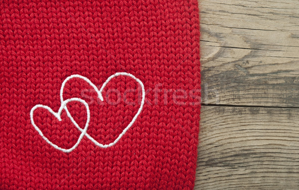two embroidered heart on brown background Stock photo © inxti