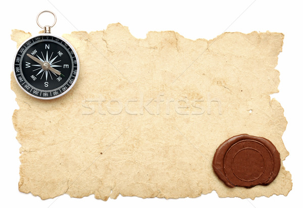 Stock photo: seal wax and compass