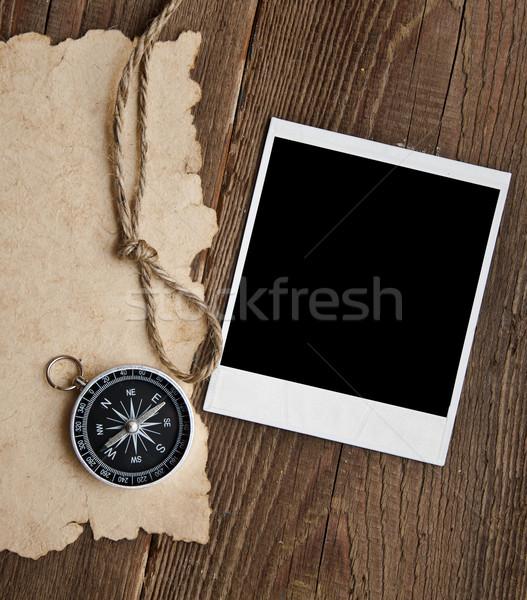 Kötél régi fotó grunge térkép háttér iránytű Stock fotó © inxti